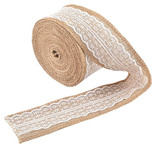 eZthings Decorative Designer Burlap Ribbons for Party Decor Projects and Gift Baskets, 10 yd., White
