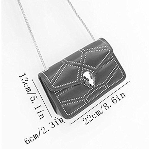 Coréenne La Diagonale à Sac De Cuir à Portable Chaîne Bandoulière Mode à Grey En Sacs QIAOY Bandoulière Sacs Sac Main Femmes Sac Rivet Tnwnx5qSZF