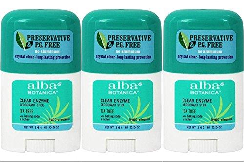 Alba Unscented Deodorant - Alba Botanica Hypo Allergenic Tea Tree Clear Stick Organic Deodorant 0.5 Oz Travel Size (Pack of 3)