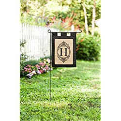 "Evergreen ""H"" Monogram Double-Sided Burlap Garden Flag - 12.5""W x 18""H"