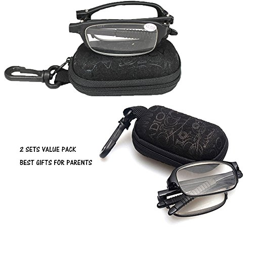 SOOLALA 2 Pairs Black Mini TR90 Folding Reading Glasses with Clip Holder Zipper Case 7 Strengths, +2.5D