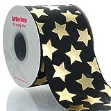 3'' Black w/ Gold Stars Grosgrain Ribbon 25yd