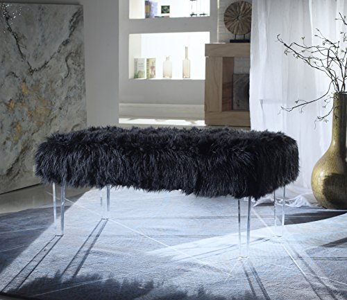 Iconic Home FBH2647-AN Trento Modern Contemporary Faux Fur Acrylic Leg Bench, Black