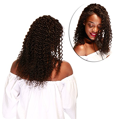 Glueless Lace Front Wig for Women Costume Dress 16'' Long Deep Wave Unprocessed Virgin Human Hair with Baby Hair (Natural Black #1B 130% Density )