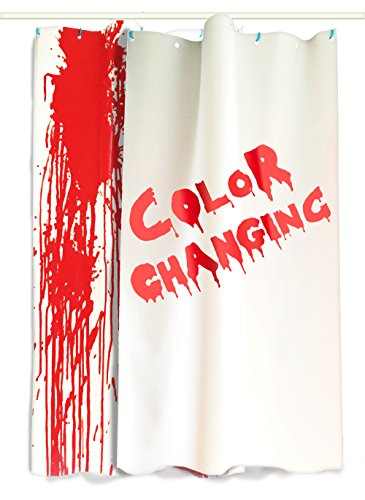 Bloody Curtains - 2 Large Color Changing Sheets That Turn Red When Wet, 36x72in (91x182cm) Sheet, Red/White, Halloween Decorations Color Changes One Side]()