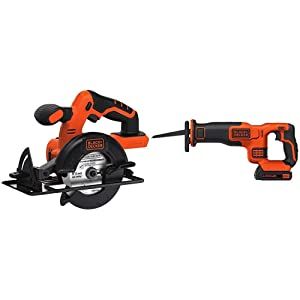BLACK+DECKER BDCCS20B 20-volt Max Circular Saw Bare Tool, 5-1/2-Inch with BLACK+DECKER BDCR20C 20V MAX Reciprocating Saw with Battery and Charger