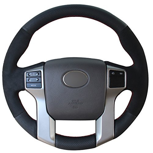 (Loncky Black Genuine Leather Suede Auto Custom Steering Wheel Cover for 2012-2016 Toyota Tacoma / 2014-2016 Toyota Tundra / 2010 2011 2013 2013 2014 2015 2016 Toyota 4Runner / 2014-2016 Toyota Sequoia)