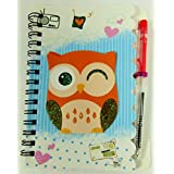 Cute Owl with Pen Spiral Bound Notebook Set (Brown)