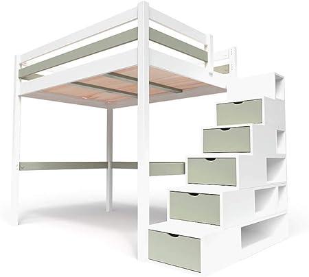 ABC MEUBLES - Cama Alta Sylvia con Escalera Cubo - Cube - Blanco/Moka, 160x200: Amazon.es: Hogar