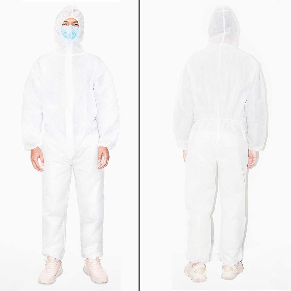 GUOLINGHUI Aislamiento M/édico Desechable Overoles SMS Ropa De Protecci/ón No Tejida Mono Antivirus Color : Blanco, tama/ño : One Size