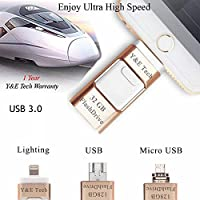 32 GB New USB 3.0 i-Flash Drive Device Y&E Tech OTG Memory Stick For iPhone iPod IOS Android , Ultra High speed(Gold)