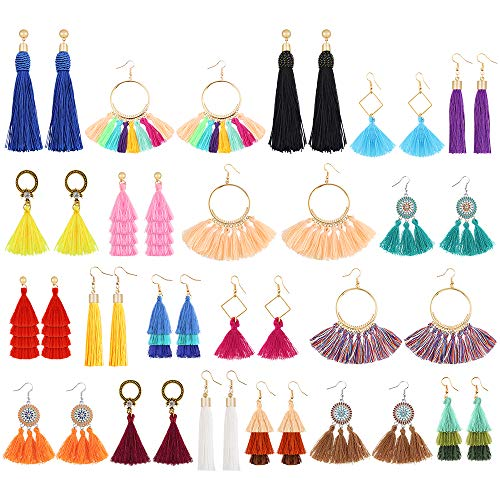 Sntieecr 20 Pairs Colorful Tassel Earrings Long Layered Thread Ball Dangle Earrings Hoop Fringe Bohemian Tiered Tassel Drop Earrings Fashion Jewelry Gift Set for Women Girls Valentine Birthday ()