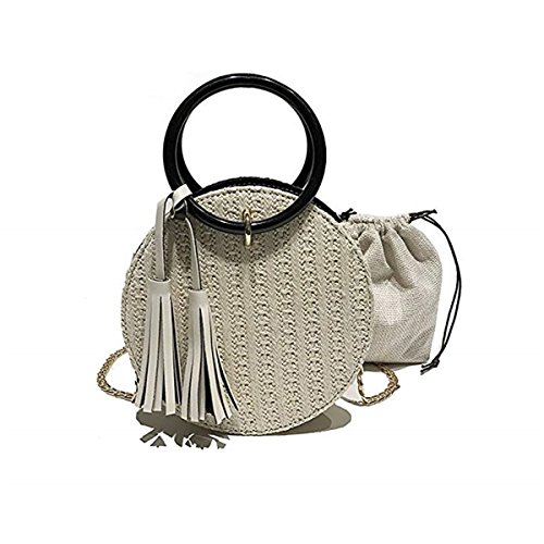 Women Straw Purse, JOSEKO Summer Beach Bag Circle Crossbody Bag Round Rattan Bag Shoulder Satchel White White
