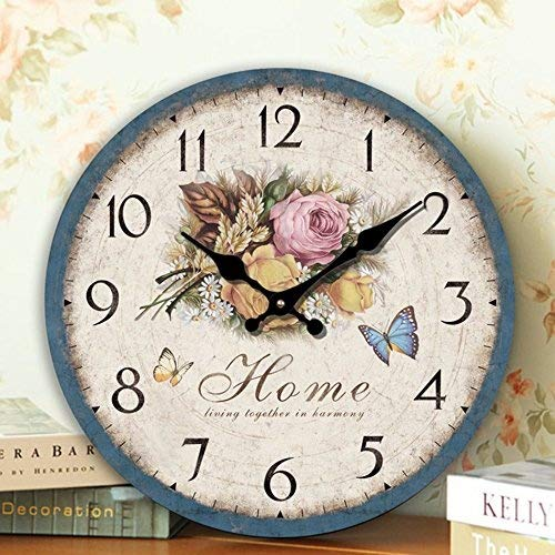 Cheap Romantic Sweet Roses Clock, 12″ Eruner Rustic Floral Style Wall Clock *Home* Wooden Art Decor Non-Ticking Bedroom Study Desk Home Decoration(C-60)