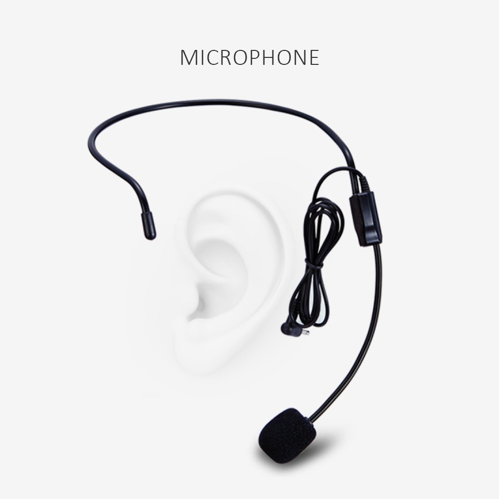 Portable Voice Amplifier Pa system loud speaker with 1800mAh Rechargable Lithium Battery , Wired headset Microphone Waist Support Suitable for Tour Guides, Teachers, Coaches, Presentations, Costumes by SHIDU (Image #4)