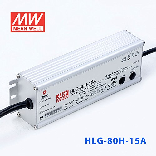 Meanwell HLG-80H-15A Power Supply - 75W 15V 5A - IP65 - Adjustable Output