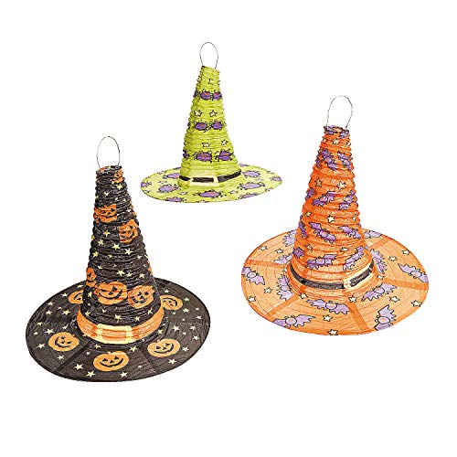 Fun Express - Witch Hat Tissue Lanterns (3pc) for Halloween - Party Decor - Hanging Decor - Lanterns - Halloween - 3 Pieces