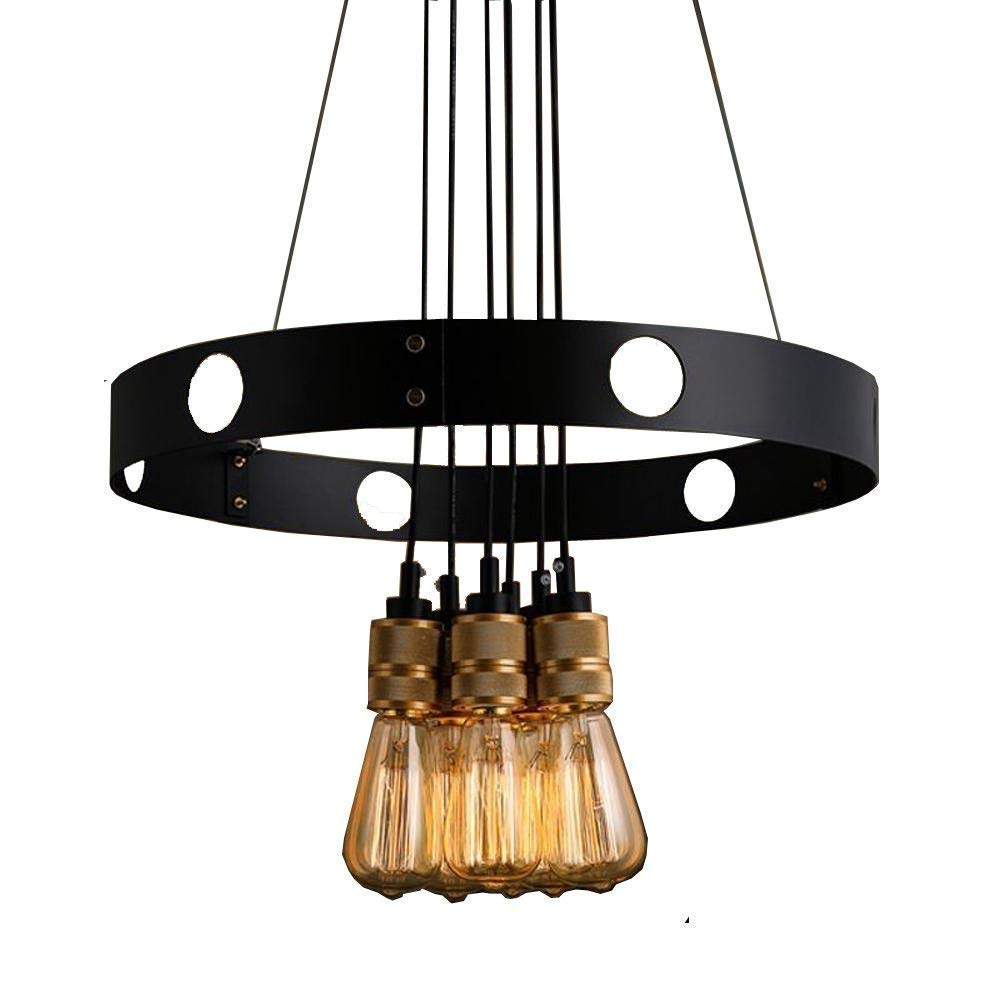 Perfect Home American Loft Industrial Living Room Ceiling Pendant Lights Metal Circle Coffee House Pendant Lamp Bar Counter Dining Room 6 Heads Pendant Lighting Fixtures Durable