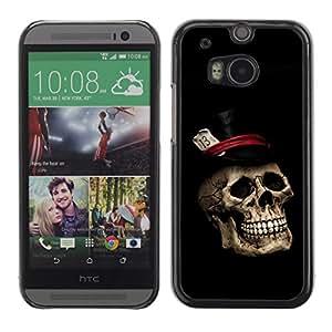 Cubierta de la caja de protección la piel dura para el HTC ONE M8 2014 - Gentleman Skull Top Hat