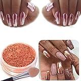 Women's Nail Mirror Powder, Iuhan Sexy Rose Gold Nail Mirror Powder Glitter Chrome Powder Art Decoration (Rose Gold)
