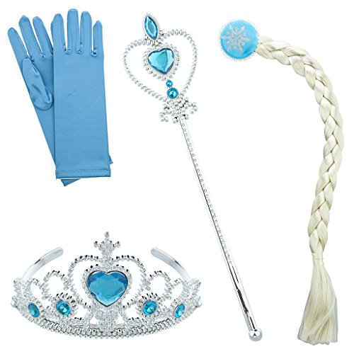 Blue Ice Princess Costume (Lux Accessories Silvertone Blue Halloween Ice Frozen Princess Costume Set 4PC)