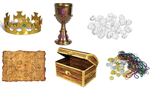 Pirate Treasure Hunt Set - Includes Chest Box, Treasure Map, Plastic Diamonds, Treasure Loot, Plastic Jeweled King's Crown, Plastic Jeweled Goblet| Pirate Theme Costume Party Accessories by J&J's ToyScape