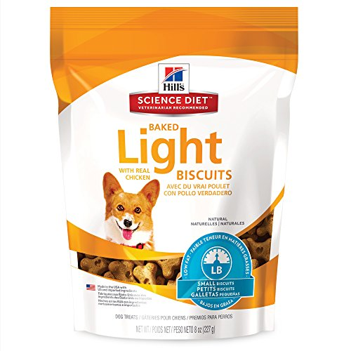 51sFSS 4ZCL - Hill's Science Diet Light Dog Snacks, Baked Light Dog Biscuits with Real Chicken Small Dog Treats, Healthy Dog Treats, 8 oz Bag