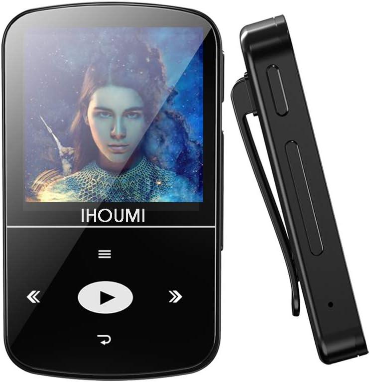32GB Reproductor MP3 Bluetooth 4.2 Súper Ligero Gran Memoria Deportes IHOUMI Mp3 Player con Radio FM, Grabación de Voz, Podómetro,E-Book, Soporte SD USB TF hasta 128 GB Tarjeta