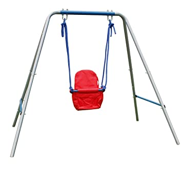 hlc outdoor folding toddler garden swing frame with safery seat for kids nursery swing red