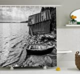 Fishing Themed Shower Curtains Ambesonne Black and White Decor Shower Curtain, Old Wooden Fishing Boat and Abandoned Barn on Lake Coastal Charm Picture, Fabric Bathroom Decor Set with Hooks, 84 Inches Extra Long, Grey