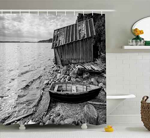 Ambesonne Black and White Decor Shower Curtain, Old Wooden Fishing Boat and Abandoned Barn on Lake Coastal Charm Picture, Fabric Bathroom Decor Set with Hooks, 70 Inches, Grey