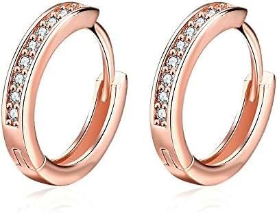 Hanie Huggie Hoop Earrings Rose Gold Tone Round White Crystal