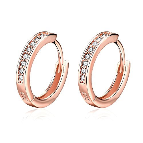 BuycitKy 18k Rose Gold Cubic Zirconia Small Hoop Earrings for Women Men 17MM Huggie Earrings CZ Inlaid, with PU Jewelry Pouch