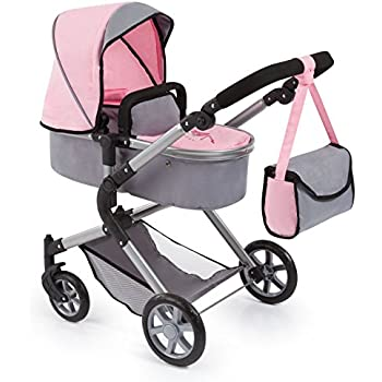 Bayer Design 18108AA Dolls Pram City Neo with Changing Bag and Underneath Shopping Basket, Convertable to a Pushchair, Soft Pink/Grey