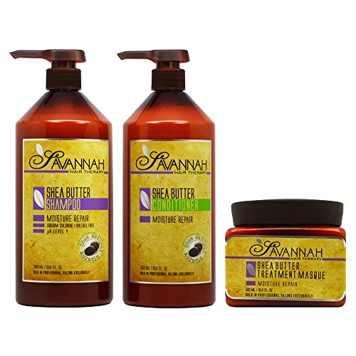 Savannah Shea Butter Shampoo & Conditioner 33.8oz & Masque 16.9oz ''Set'' by Savannah Hair Therapy