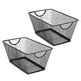 SLPR Office Desktop Organizer Wire Basket (Set of 2, Black) | Classroom Craft Room Kitchen Pantry Garage Desk Stackable Metal Tapered Storage Bin