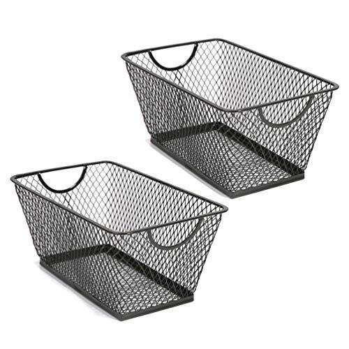 - SLPR Office Desktop Organizer Wire Basket (Set of 2, Black) | Classroom Craft Room Kitchen Pantry Garage Desk Stackable Metal Tapered Storage Bin