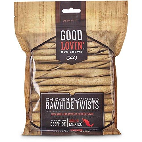Flavored Rawhide Twists - Good Lovin'' Chicken Flavored Rawhide Twist Dog Chews, 5-inch, Pack of 40, 7.1 OZ