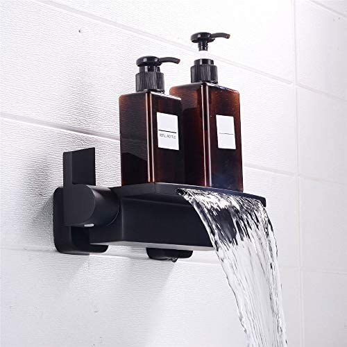 浴槽の蛇口 壁には滝バスタブ浴室の蛇口ブラックホット&コールドシャワーをマウント キッチンバーのトイレで使用できます (Color : Black, Size : Free size)