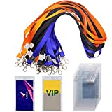 30 Pack Badge Holder with 3 Colors Lanyards, DanziX Waterproof Vertical Name Tag ID Card Holder, Heavy Duty Sealable Vinyl PVC ,Size 2.7''*4.7''- Clear