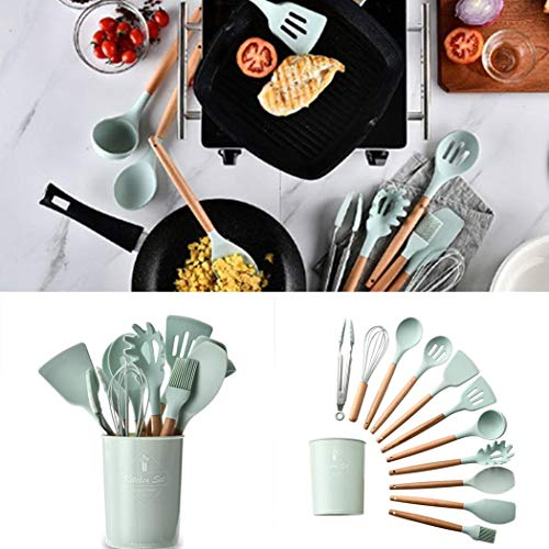 flowop 1PC Silicone Cooking Kitchen Utensils with Holder, Wooden Handles Cooking Tool Turner Tongs Spatula Spoon Kitchen Gadgets,for Nonstick Cookware
