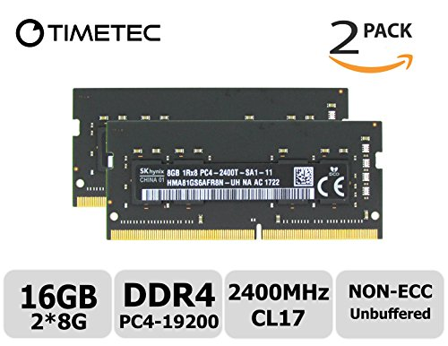 Timetec Hynix 16GB Kit (2x8GB) DDR4 2400MHz PC4-19200 Unbuffered Non-ECC 1.2V CL17 2Rx8 Dual Rank 260 Pin SODIMM Laptop Notebook Computer Memory RAM Module Upgrade (16GB Kit (2x8GB)) (Computer Memory Upgrades Laptop)
