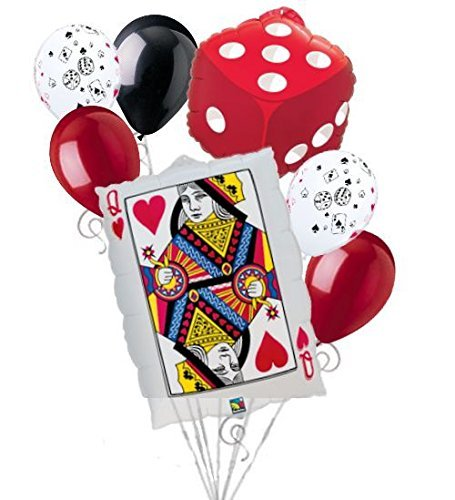 Heart Party Bouquet - 7pc Poker Party Queen Hearts Balloon Bouquet Party Decoration Birthday Dice Card