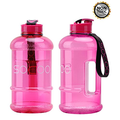 Drinking Water Bottle Sports 1.3L Portable Reusable Eco Friendly Healthy Leak Proof Large Water Bottle Container For Women Men Kids Drinking Gym Fitness Large Water Containers (1.3L-Transparent Pink)