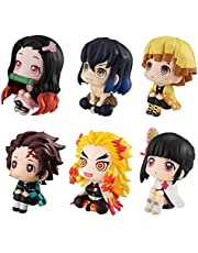 6 stks Demon Slayer Mini Figures Set, Anime Personages Figures Toys, Anime Character Doll, Cartoon Pop, Ornamenten PVC Ornamenten voor Slaapkamer Nachtkastje Woonkamer