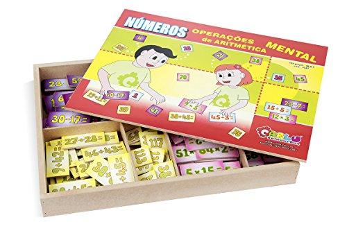 Números Operações de Aritmética Mental MDF 160 Peças Carlu Brinquedos