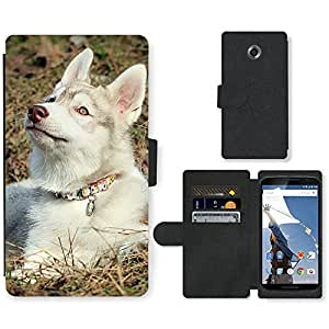 PU Cuir Flip Etui Portefeuille Coque Case Cover véritable Leather Housse Couvrir Couverture Fermeture Magnetique Silicone Support Carte Slots Protection Shell // V00000844 Patrón del perro de perrito // Motorola Google Nexus 6