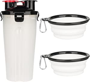 DYAprWu Dog Portable Bottle with Collapsible Bowls 2-in-1 Dog Water Dispenser and Food Container with 2 Bowls for Pets Walking and Traveling (2-in-1, White)