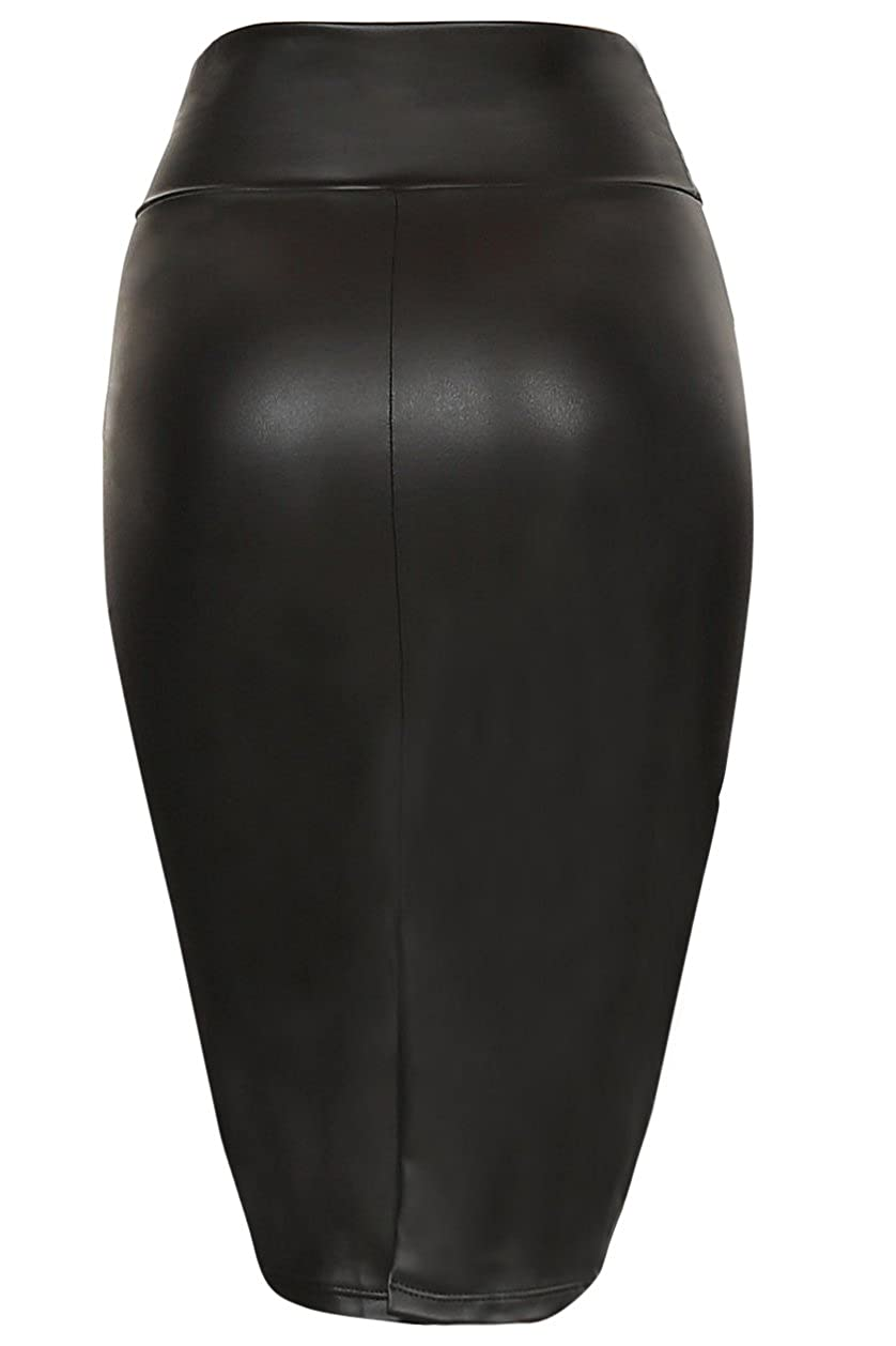 good looking so cheap half off Faux Leather Pencil Skirt Below Knee Length Skirt Midi Bodycon Skirt for  Womens, USA