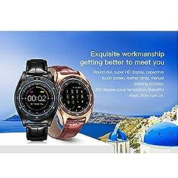 Glumes Bluetooth Smart Watch with heart rate/blood pressure/blood oxygen monitor Touchscreen Smart Wrist Watch + Sim Card Slot Unlocked Waterproof Smart Watch -American Warehouse Shipment (➤ Black)